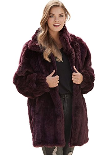 Roamans Women's Plus Size Short Imitation Fur Coat Midnight Berry,3X by Roamans