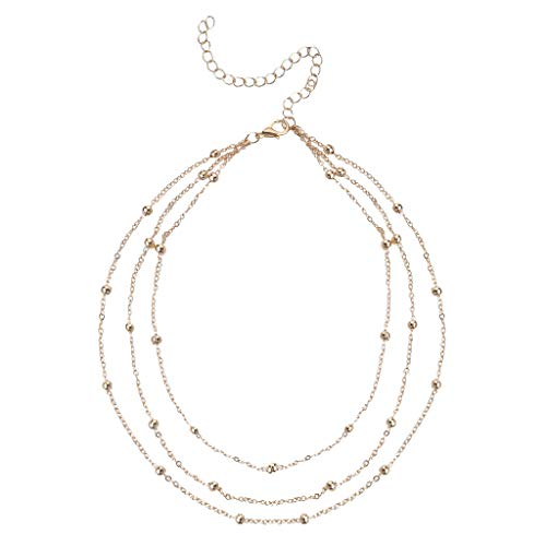 Fashion Women Multi-Layered Necklace,Haluoo Ladies Minimalist Gold Plated Beads Layered Necklace 3 Pcs Ladies Stylish Jewelry Gifts for Best Friends Girlfriends Girls Simple Jewelry 16″ Chain (Gold)