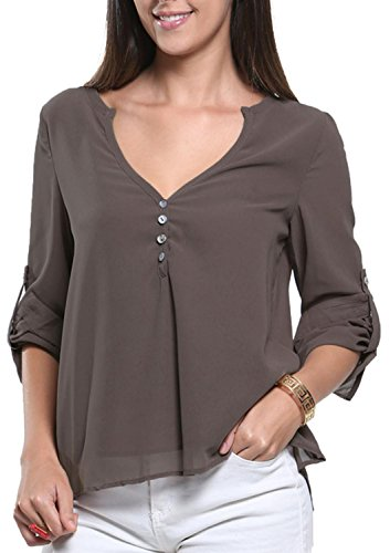IF FEEL Womens V-Neck Button Detail Dip Back Blouse Top ((US 8-10)M, Gray)