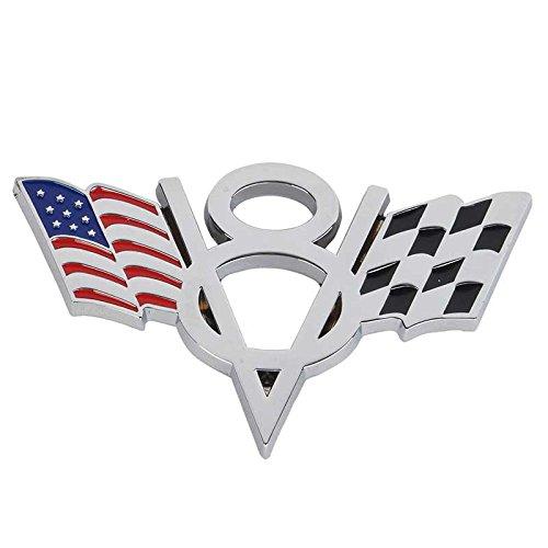 Metall Emblem Aufkleber V8 mit Fahnen Sonstige