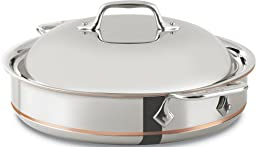 All-Clad 640318 SS Copper Core 5-Ply Bonded Dishwasher Safe Sauteuse with Domed Lid / Cookware, 3-Quart, Silver