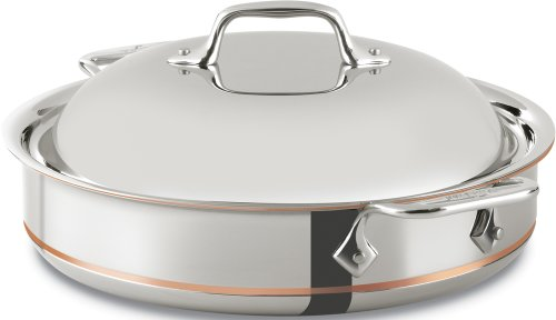 All-Clad 640318 SS Copper Core 5-Ply Bonded Dishwasher Safe Sauteuse with Domed Lid/Cookware,  3-Quart, Silver