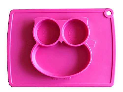 Plate Dog Rose (KoEiAsd Premium Silicone Suction Placemat One-Piece Suction Child Feeding Mat , Baby Table Place Mat for Toddlers,Great for Babies and toddlers, new moms, baby showers, and birthdays (Owl_Rose))