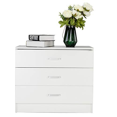 Goujxcy 3 Drawer Chest Dresser,Dresser for Bedroom,White (Chest 3 Drawer Silver)