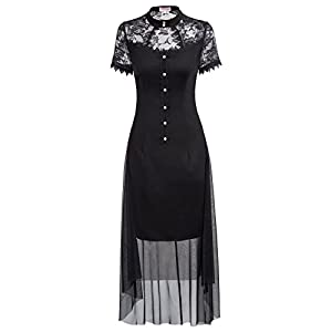 Belle Poque Women Vintage Black Steampunk Gothic Victorian Lace Dress