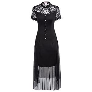 Belle Poque Women's Vintage Steampunk Gothic Victorian High Low Hem Lace Dress