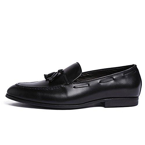 Santimon Heren Kwast Hanger Lederen Oorzakelijk Vrijetijdsschoenen Penny-loafer Schoenen An1511 Zwart