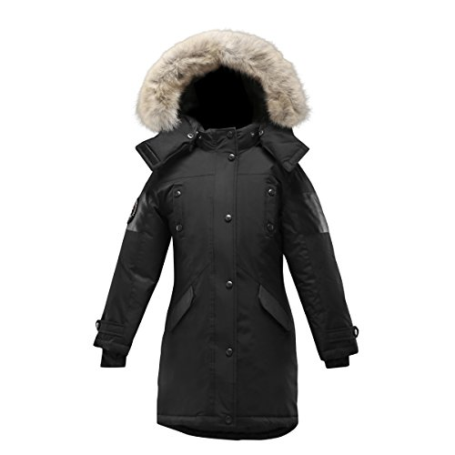 Triple F.A.T. Goose Embree Girls Down Jacket Parka With Real Coyote Fur (8, Black) by Triple F.A.T. Goose