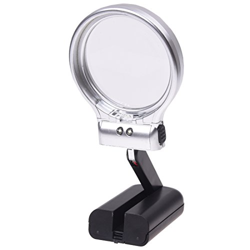 YiFeng Hands-free 3X Magnifying Glass Illuminated by 2 LED Lights with Light Stand
