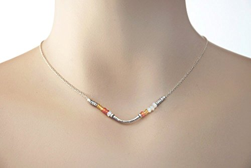 Sapphire Necklace, AAA Orange and Yellow Sapphires, White Moonstone Necklace, Fine Silver Jewelry, Sterling Silver Chain, LLD - Karen Tribal Hill Silver Tribe