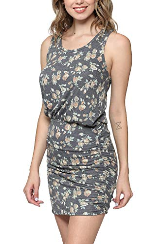 Comfort Dress Sandals - LaClef Women's Mini Ruched Tank Shift Dress (Navy Floral, S)