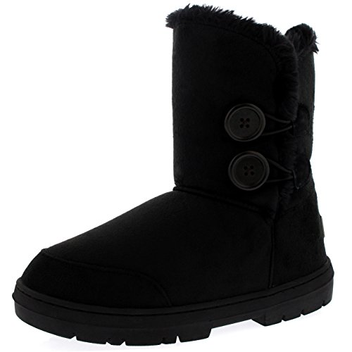 Womens Twin Button Fully Fur Lined Waterproof Winter Snow Boots ,8 B(M) ()