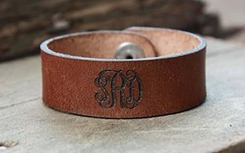 Amazoncom Personalized Monogram Leather Cuff Leather Bracelet