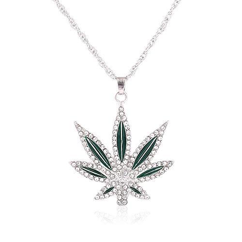 (YOOE Mens Hip Hop Marijuana Leaf Necklace Rhinestone Big Leaves Cuban Chain Necklace,Punk Crystal Maple Leaf Pendant Necklace (Silver))