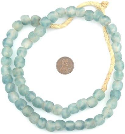 FULL STRAND 65-67 Beads 7 mm Sea Glass Bead Recycled Glass Beads Jewelry DIY Decor Purple Ghana African Fair Trade Handmade