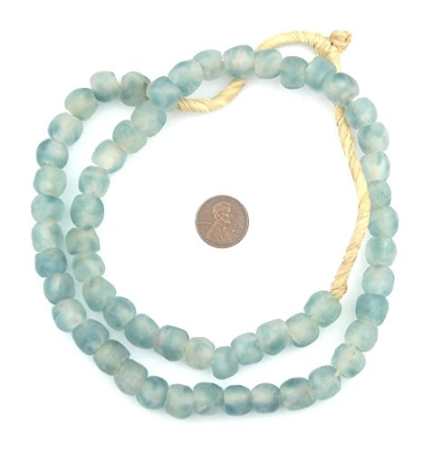 Fair Trade Glass - African Recycled Glass Beads - Full Strand Eco-Friendly Fair Trade Sea Glass Beads from Ghana Handmade Ethnic Round Spherical Tribal Boho Krobo Spacer Beads - The Bead Chest (11mm, Blue Wave Marine)