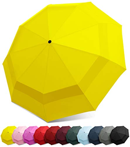 EEZ-Y Compact Travel Umbrella w/Windproof Double Canopy Construction - Auto Open Close ()
