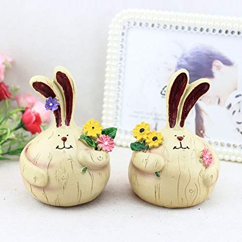 DSLSM Originative Resin Crafts Small Cute Fat Garlic Rabbit Ornaments Base Bar Decoration