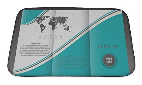 Gear New Bath Rug Mat No Slip Microfiber Memory Foam, Business Trifold Brochure Template Design Wavy Lines And World Map Infographic, 24x17 (Tri Fold Brochure Template)