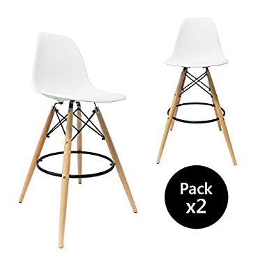 Buschman Set of Two White 30 Inches Mid Century Modern Eames Style Barstools with Backs
