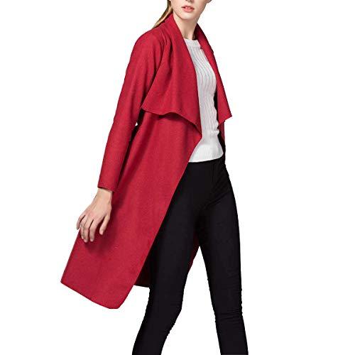 Color Red irregular XL tamaño delgado rompevientos abrigo Invierno ZFFde mediados corbata cuello vendaje peludo volantes largo Con T6qpwOS