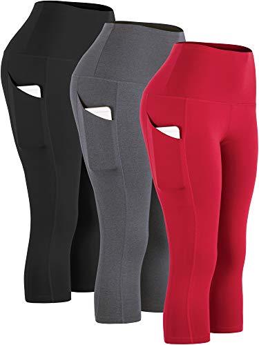 Cadmus Workout Legging Capris for Yoga w Side Pockets,1109,Black & Grey & Red,Large