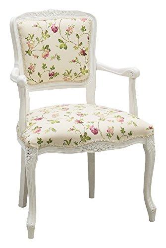 Pieffe Mobili Parigina poltroncina Shabby, legno faggio bianco, stoffa fiori! 190005