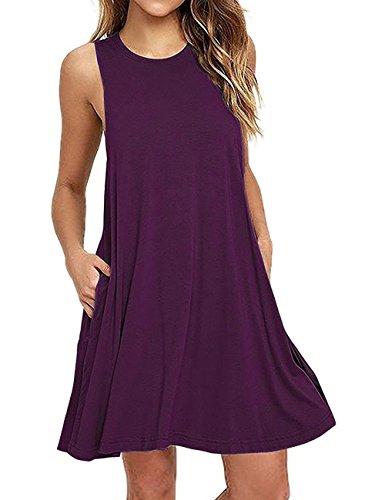 Color Shirt Dresses Solid Sleeveless Short T Purple Pockets Women's Bridal Bess nW60cXq