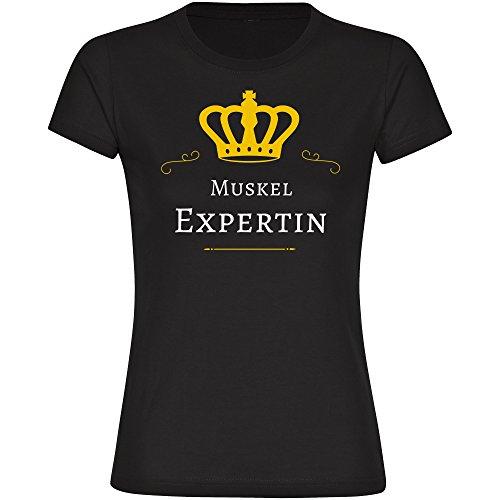 T-Shirt Muskel Expertin schwarz Damen Gr. S bis 2XL