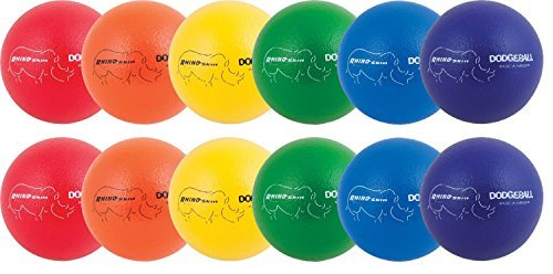 Champion Sports Rhino Skin Low Bounce Dodgeball, 6-Inch - Set of 6, Multi-Color Assorted(Bundle) by Champion Sports