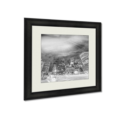 Ashley Framed Prints Boston Ma Beautiful Night Skyline On A Autumn Evening, Wall Art Home Decor, Black/White, 30x30 (frame size), AG6335485 by Ashley Framed Prints