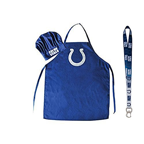 Pro Specialties Group NFL Barbeque Apron, Chef's Hat and Bottle Opener Gift Set (Indianapolis Colts)