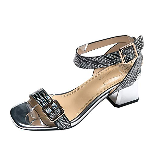 Cewtolkar Womens Ankle Strap Open Toe High Heel Sandals Summer Thick Heel Shoes Square Toe Shoes Party Sandals Black 7' Open Toe High Heel