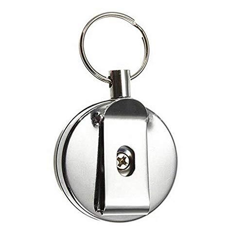 Hemore retr/áctil Metal en Acero Retroceso Anillo Clip de cintur/ón Llavero