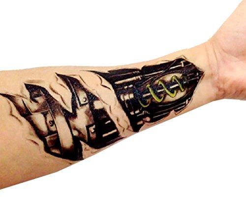 Simulation 3D NuoYa001 amovible de haute qualité mécanique Tattoo Autocollants transfert temporaire Body Art Autocollants étanche non toxique