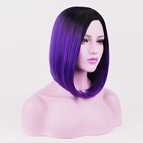 Beshiny Bob Wig Ombre Purple Rose Wigs Dark Roots Short Straight Synthetic Hair Middle Part None Lace Cosplay Daily Party Wig for Women (Purple & -