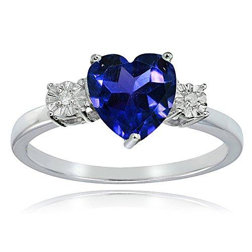 Diamond & Sapphire Heart Ring - 8