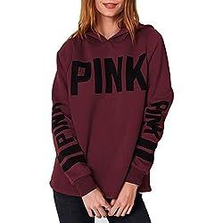 HelloTem Women Hoodie Sweatshirt Long Sleeve Letter Print Casual Pullover Tops,Dark Red,X-Large