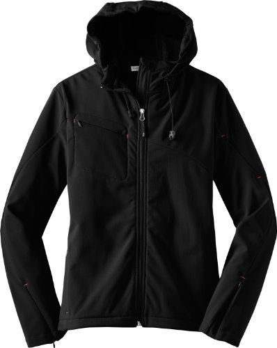 Port Authority Ladies Textured Hooded Soft Shell Jacket-4XL (Black/Engine Red)