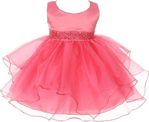 Infant Baby Toddler Flower Dress Sleeveless Beading Ruffles Dress Coral M B111 -