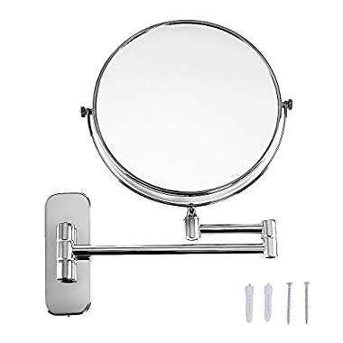 Songmics 8'' Two-Sided Wall Mount Makeup Mirror 360° Swivel Extendable Cosmetic Mirror 7x Magnification Chrome Finish UBBM713