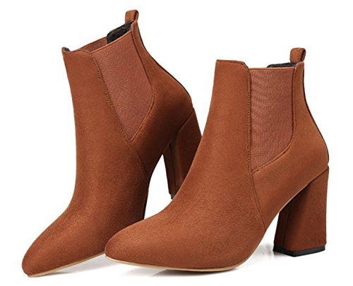 Booties Faux Elastic Aisun Suede Pointy Yellow Toe Fashion Women's wqxZPHC0