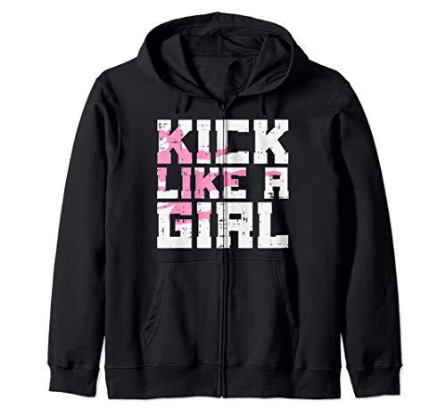 Kick Like Girl Karate Taekwondo Kung Fu Martial Arts Gift Zip Hoodie