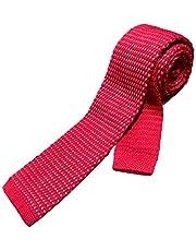 Corbata tejida de tela color rojo con blanco
