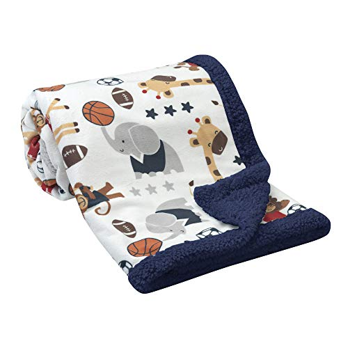 Lambs & Ivy Future All Star Sports Sherpa Blanket, Blue/Red