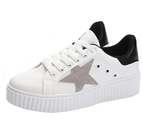 VECJUNIA 1 up White Ladies Casual 4 Shoes ShoesTrainers Breathable Lace 5 Walking qqwArfT