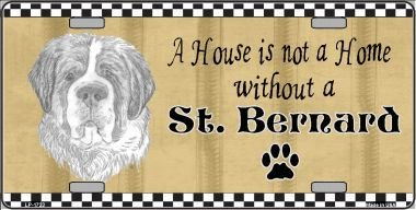 Pencil Sketch Saint Bernard Metal Novelty License Plate LP-1723