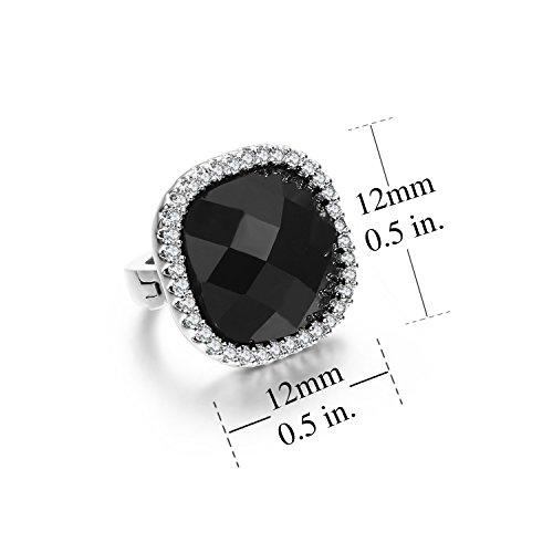 Sbling Plaqué platine Noir Petit Halo Boucles d'oreilles créoles avec Oxyde de Zirconium