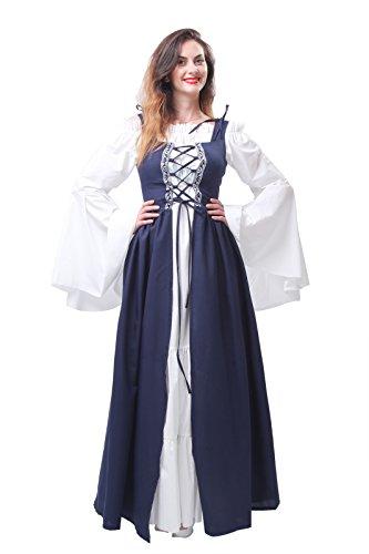 Plus Size German Beer Girl Costume (Nuoqi Women's Oktoberfest Adult Costumes Halloween German Beer Maid Outfits Navy Blue)