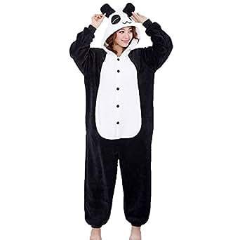 QUMAO Pijama Animal Panda Entero para Adultos Pijama Mono Animal para Mujer Hombre Disfraz para Navidad con Capucha Invierno Franela Estilo con Botones/Cremalleras Al Azar